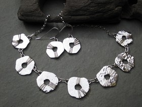 Hammered Seven Section Necklace with Oxidised Wire Detail