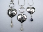 Domed Heart Pendants with Silver Wire Detail