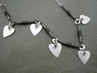 Oxidised Silver Tube Necklace with Matte Hearts